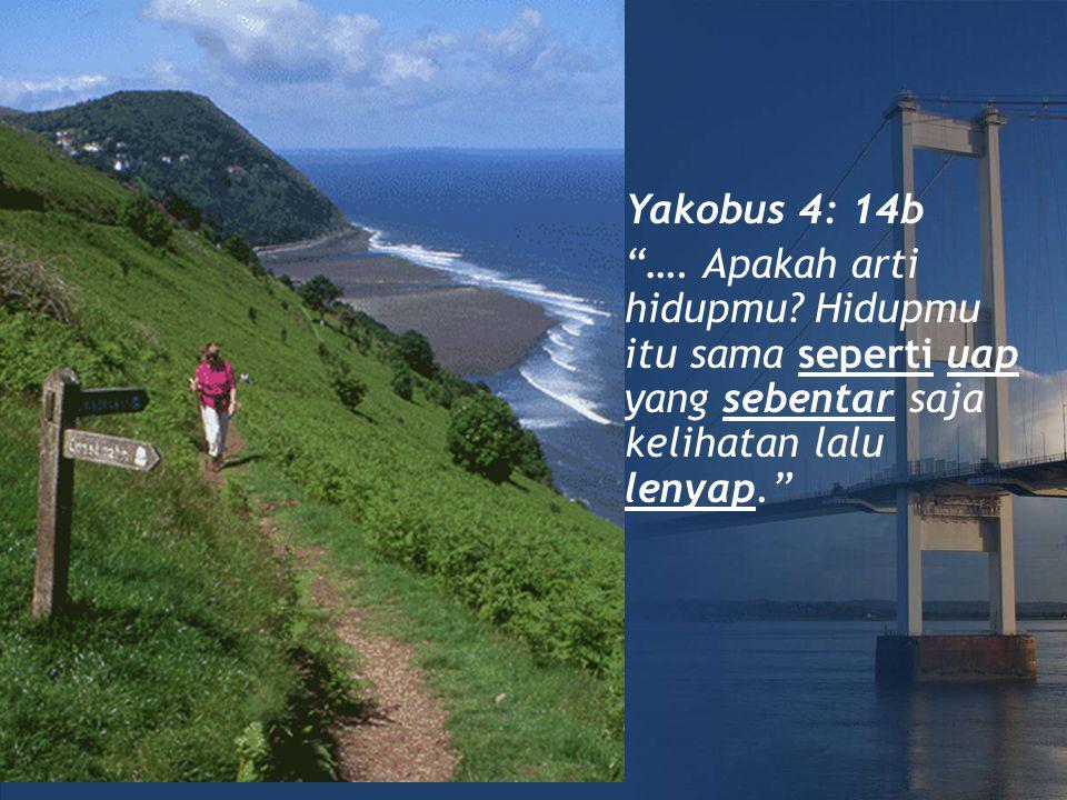 Yakobus 4: 14b ….Apakah arti hidupmu.