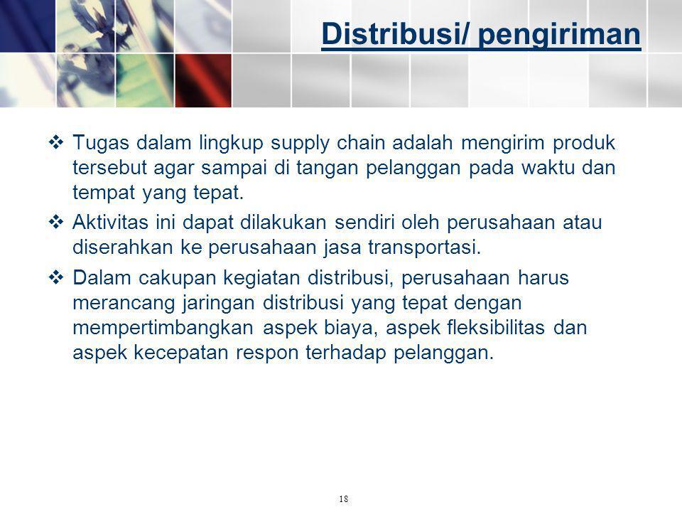 Distribusi/ pengiriman  Tugas dalam lingkup supply chain adalah mengirim produk tersebut agar sampai di tangan pelanggan pada waktu dan tempat yang t