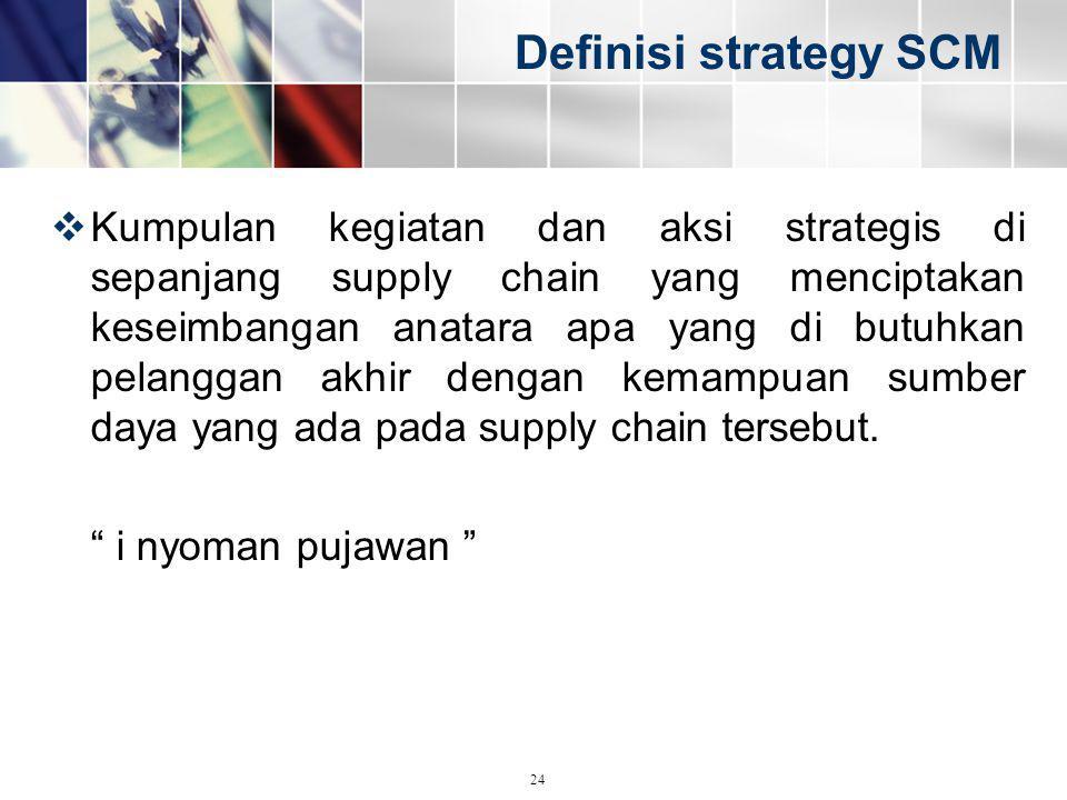 Definisi strategy SCM  Kumpulan kegiatan dan aksi strategis di sepanjang supply chain yang menciptakan keseimbangan anatara apa yang di butuhkan pela