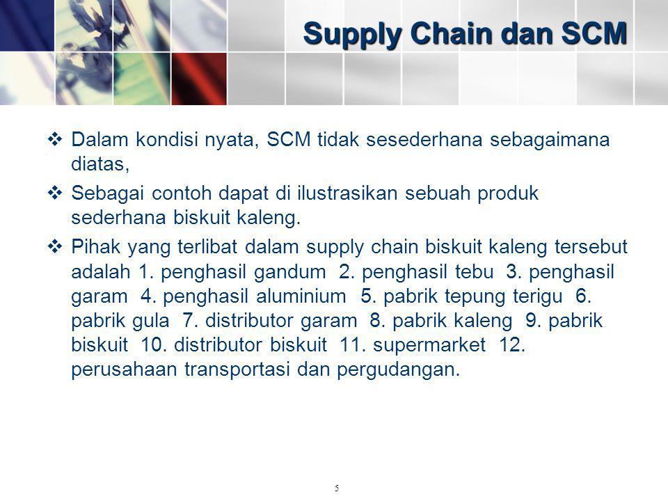 Supply Chain dan SCM  Dalam kondisi nyata, SCM tidak sesederhana sebagaimana diatas,  Sebagai contoh dapat di ilustrasikan sebuah produk sederhana b