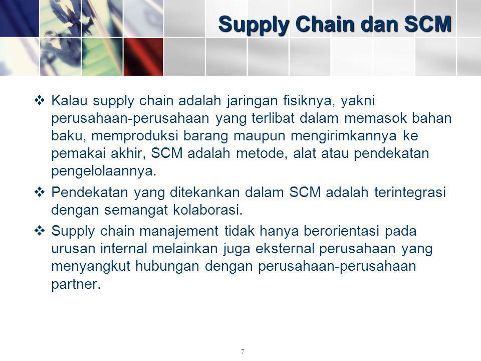 Supply Chain dan SCM  Kalau supply chain adalah jaringan fisiknya, yakni perusahaan-perusahaan yang terlibat dalam memasok bahan baku, memproduksi ba