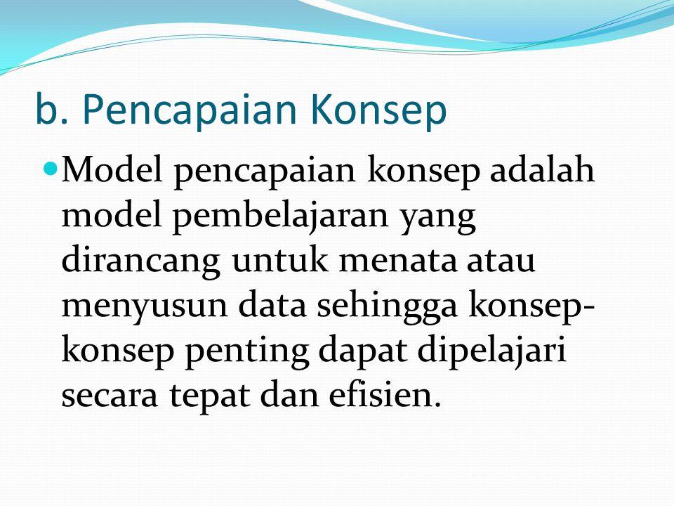 b. Pencapaian Konsep Model pencapaian konsep adalah model pembelajaran yang dirancang untuk menata atau menyusun data sehingga konsep- konsep penting