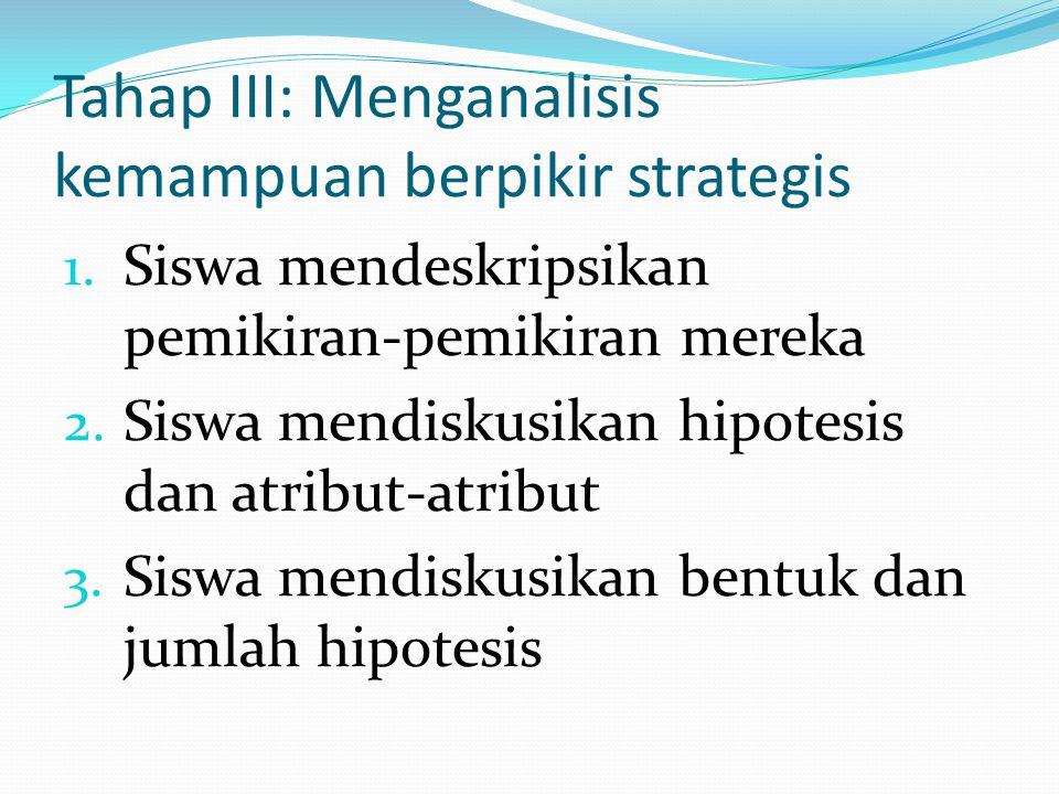 Tahap III: Menganalisis kemampuan berpikir strategis 1. Siswa mendeskripsikan pemikiran-pemikiran mereka 2. Siswa mendiskusikan hipotesis dan atribut-