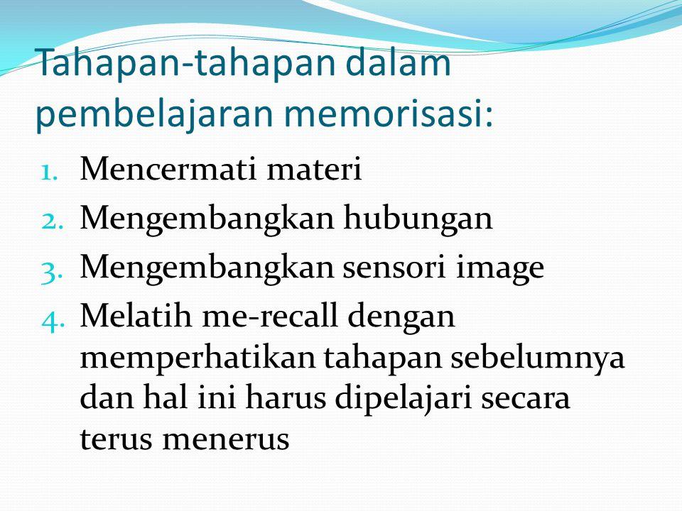 Tahapan-tahapan dalam pembelajaran memorisasi: 1.Mencermati materi 2.