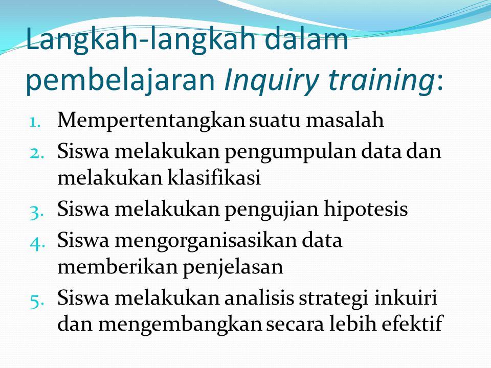 Langkah-langkah dalam pembelajaran Inquiry training: 1. Mempertentangkan suatu masalah 2. Siswa melakukan pengumpulan data dan melakukan klasifikasi 3