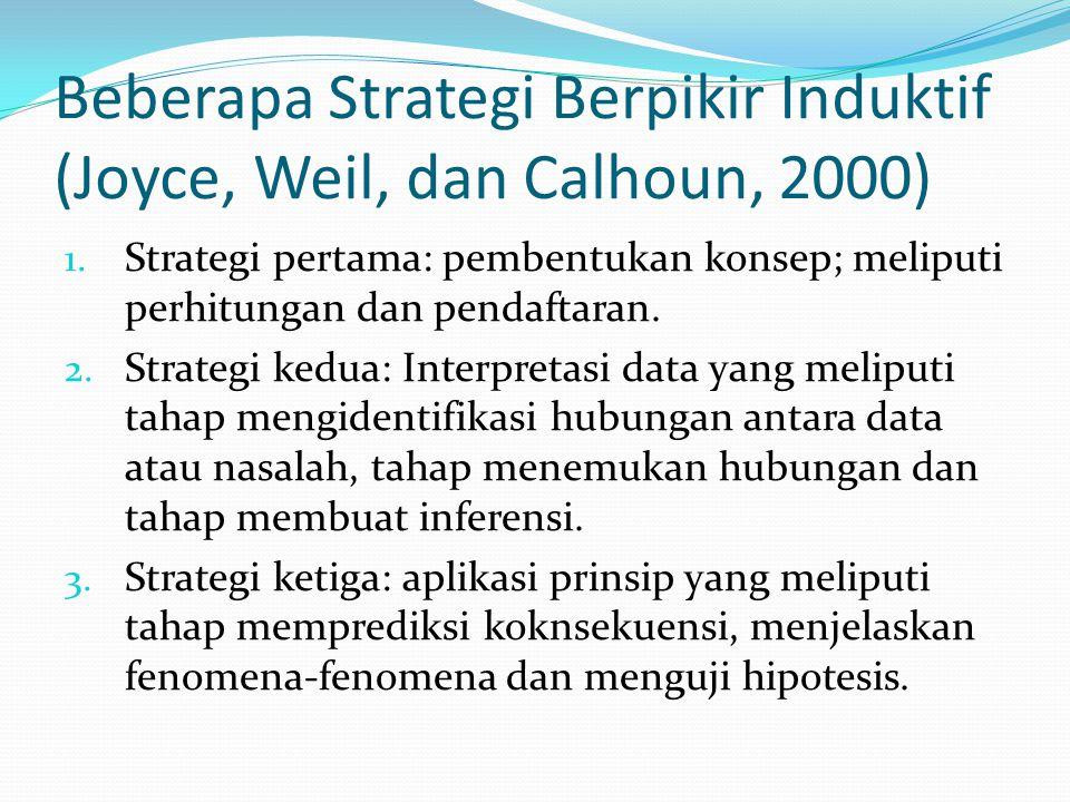 Beberapa Strategi Berpikir Induktif (Joyce, Weil, dan Calhoun, 2000) 1. Strategi pertama: pembentukan konsep; meliputi perhitungan dan pendaftaran. 2.