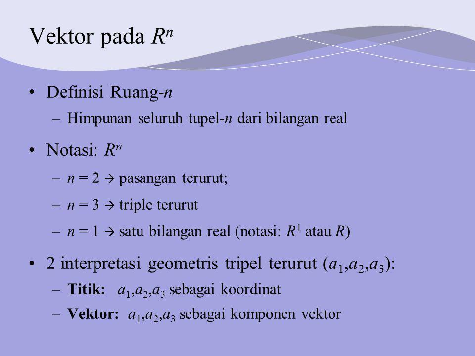 Vektor pada R n Definisi Ruang-n –Himpunan seluruh tupel-n dari bilangan real Notasi: R n –n = 2  pasangan terurut; –n = 3  triple terurut –n = 1  satu bilangan real (notasi: R 1 atau R) 2 interpretasi geometris tripel terurut (a 1,a 2,a 3 ): –Titik: a 1,a 2,a 3 sebagai koordinat –Vektor: a 1,a 2,a 3 sebagai komponen vektor
