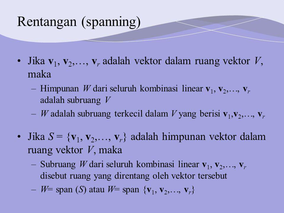 Rentangan (spanning) Jika v 1, v 2, , v r adalah vektor dalam ruang vektor V, maka –Himpunan W dari seluruh kombinasi linear v 1, v 2, , v r adalah subruang V –W adalah subruang terkecil dalam V yang berisi v 1,v 2, , v r Jika S = {v 1, v 2, , v r } adalah himpunan vektor dalam ruang vektor V, maka –Subruang W dari seluruh kombinasi linear v 1, v 2, , v r disebut ruang yang direntang oleh vektor tersebut –W= span (S) atau W= span {v 1, v 2, , v r }