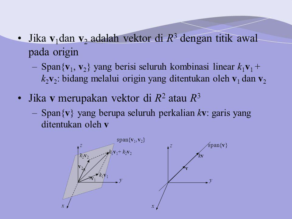Jika v 1 dan v 2 adalah vektor di R 3 dengan titik awal pada origin –Span{v 1, v 2 } yang berisi seluruh kombinasi linear k 1 v 1 + k 2 v 2 : bidang melalui origin yang ditentukan oleh v 1 dan v 2 Jika v merupakan vektor di R 2 atau R 3 –Span{v} yang berupa seluruh perkalian kv: garis yang ditentukan oleh v v1v1 k1v1k1v1 k 1 v 1 + k 2 v 2 k2v2k2v2 v2v2 y z x span{v 1, v 2 } v kvkv span{v} y z x