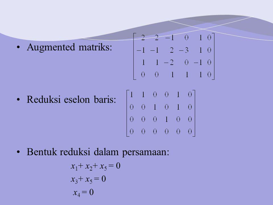 Augmented matriks: Reduksi eselon baris: Bentuk reduksi dalam persamaan: x 1 + x 2 + x 5 = 0 x 3 + x 5 = 0 x 4 = 0