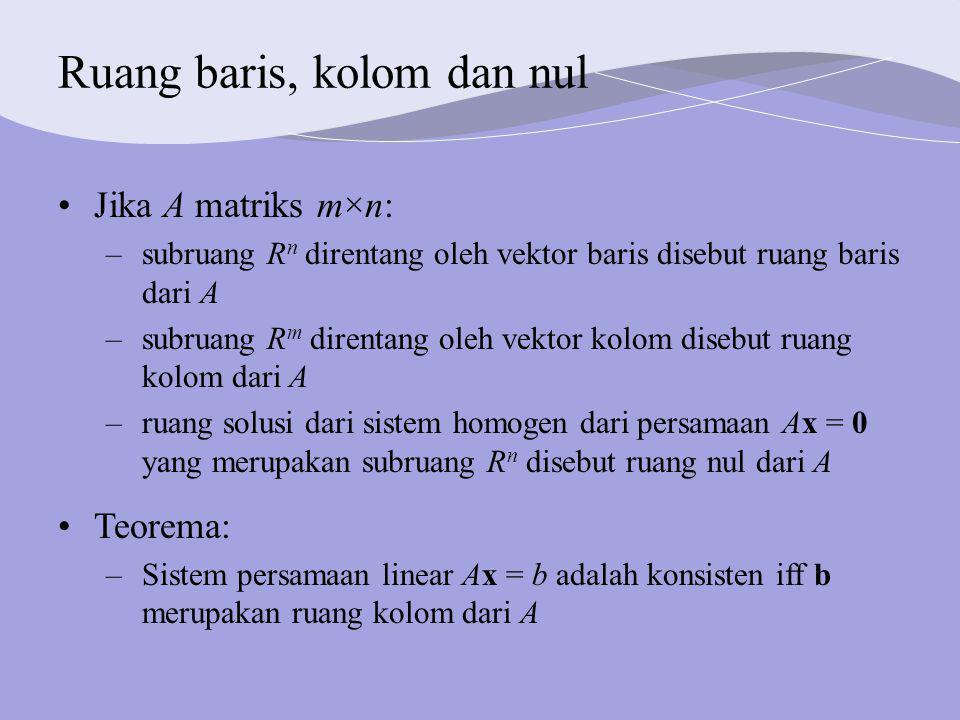 Ruang baris, kolom dan nul Jika A matriks m×n: –subruang R n direntang oleh vektor baris disebut ruang baris dari A –subruang R m direntang oleh vektor kolom disebut ruang kolom dari A –ruang solusi dari sistem homogen dari persamaan Ax = 0 yang merupakan subruang R n disebut ruang nul dari A Teorema: –Sistem persamaan linear Ax = b adalah konsisten iff b merupakan ruang kolom dari A