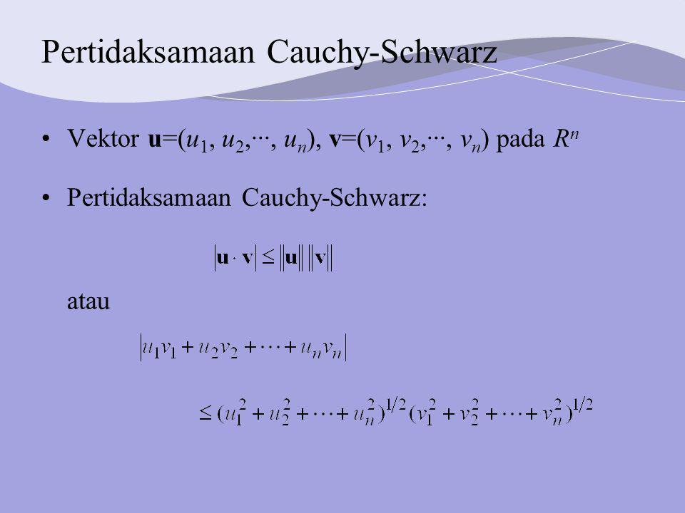 Pertidaksamaan Cauchy-Schwarz Vektor u=(u 1, u 2,···, u n ), v=(v 1, v 2,···, v n ) pada R n Pertidaksamaan Cauchy-Schwarz: atau