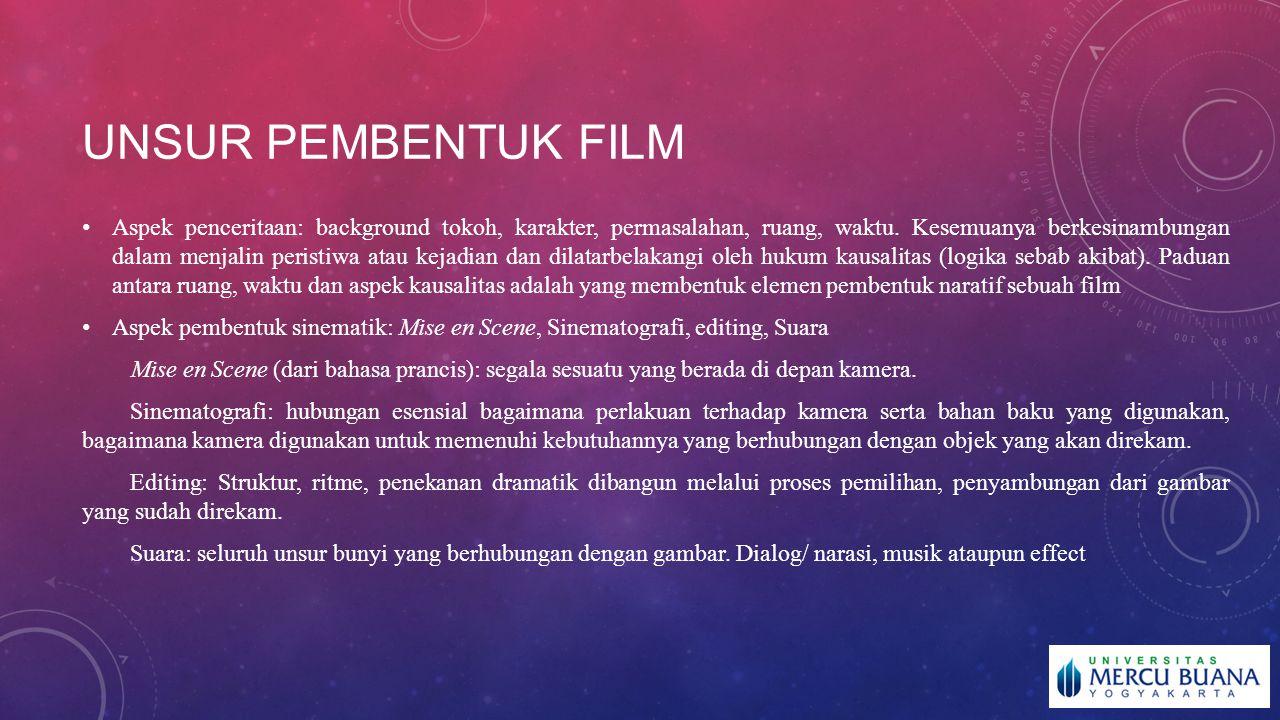 UNSUR PEMBENTUK FILM Aspek penceritaan: background tokoh, karakter, permasalahan, ruang, waktu. Kesemuanya berkesinambungan dalam menjalin peristiwa a