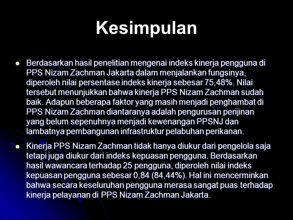 Kesimpulan Berdasarkan hasil penelitian mengenai indeks kinerja pengguna di PPS Nizam Zachman Jakarta dalam menjalankan fungsinya, diperoleh nilai per