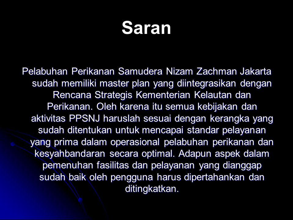 Saran Pelabuhan Perikanan Samudera Nizam Zachman Jakarta sudah memiliki master plan yang diintegrasikan dengan Rencana Strategis Kementerian Kelautan