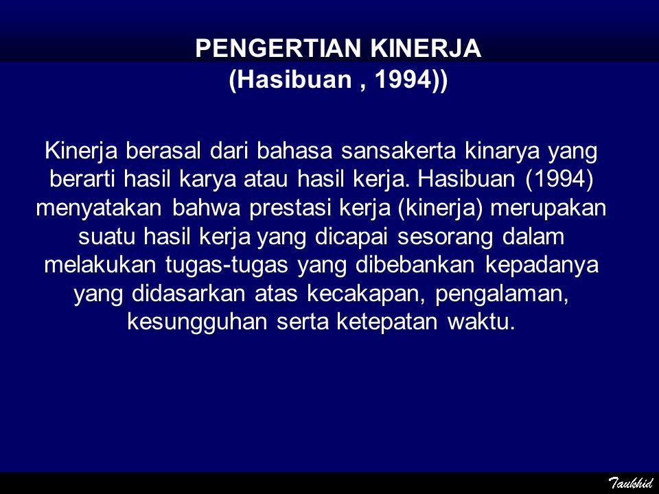Kinerja berasal dari bahasa sansakerta kinarya yang berarti hasil karya atau hasil kerja. Hasibuan (1994) menyatakan bahwa prestasi kerja (kinerja) me