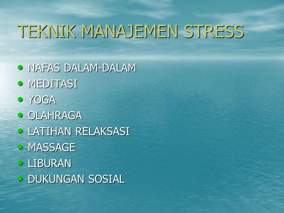 TEKNIK MANAJEMEN STRESS NAFAS DALAM-DALAM NAFAS DALAM-DALAM MEDITASI MEDITASI YOGA YOGA OLAHRAGA OLAHRAGA LATIHAN RELAKSASI LATIHAN RELAKSASI MASSAGE