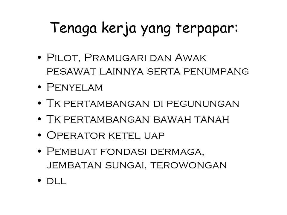 Tenaga kerja yang terpapar: Pilot, Pramugari dan Awak pesawat lainnya serta penumpang Penyelam Tk pertambangan di pegunungan Tk pertambangan bawah tan