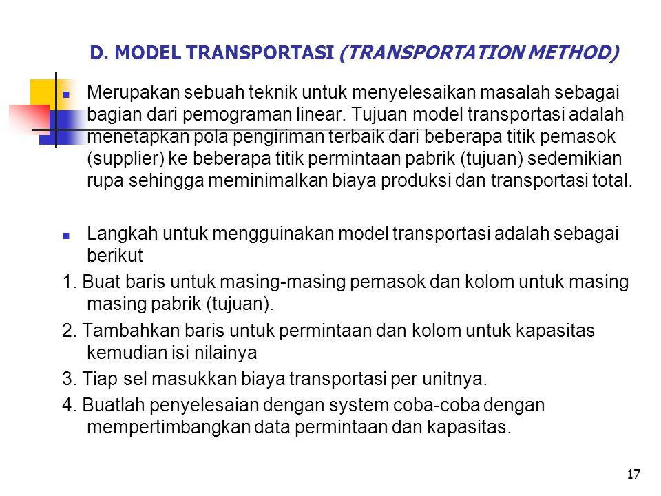 D. MODEL TRANSPORTASI (TRANSPORTATION METHOD) Merupakan sebuah teknik untuk menyelesaikan masalah sebagai bagian dari pemograman linear. Tujuan model