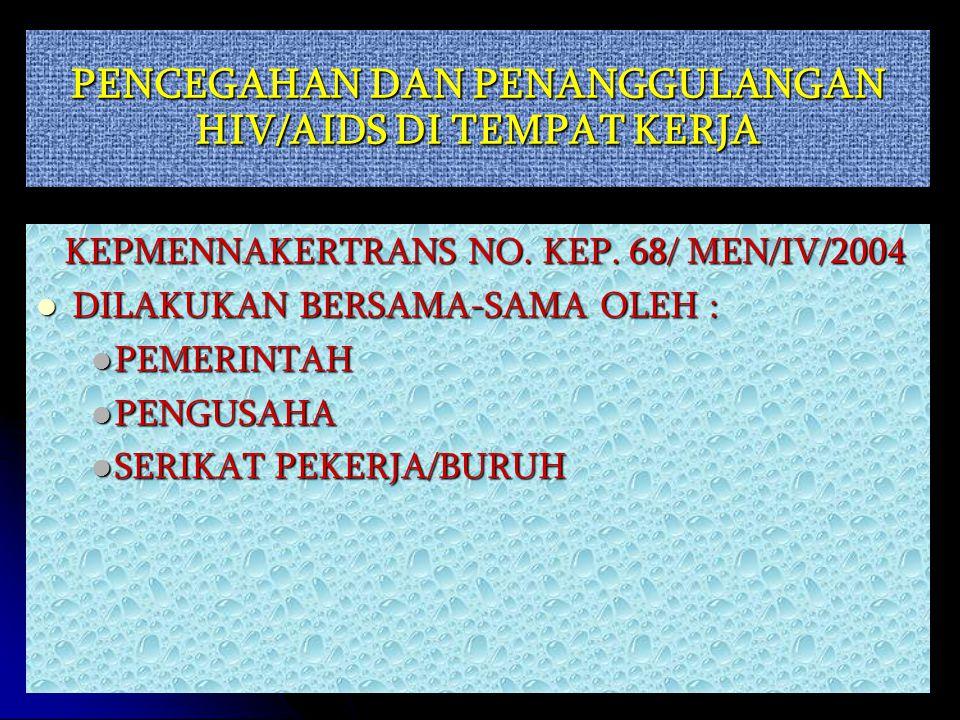 PENCEGAHAN DAN PENANGGULANGAN HIV/AIDS DI TEMPAT KERJA KEPMENNAKERTRANS NO.