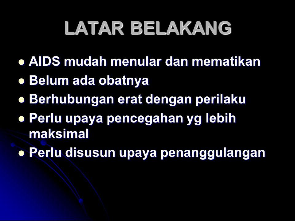 LATAR BELAKANG AIDS mudah menular dan mematikan AIDS mudah menular dan mematikan Belum ada obatnya Belum ada obatnya Berhubungan erat dengan perilaku Berhubungan erat dengan perilaku Perlu upaya pencegahan yg lebih maksimal Perlu upaya pencegahan yg lebih maksimal Perlu disusun upaya penanggulangan Perlu disusun upaya penanggulangan