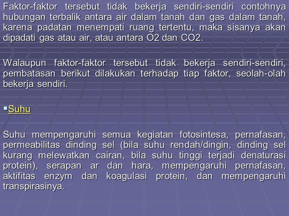 Faktor-faktor tersebut tidak bekerja sendiri-sendiri contohnya hubungan terbalik antara air dalam tanah dan gas dalam tanah, karena padatan menempati