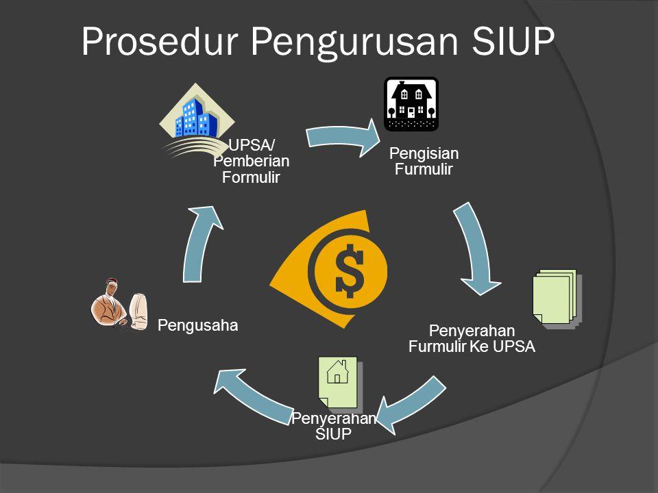 Prosedur Pengurusan SIUP Pengisian Furmulir Penyerahan Furmulir Ke UPSA Penyerahan SIUP Pengusaha UPSA/ Pemberian Formulir