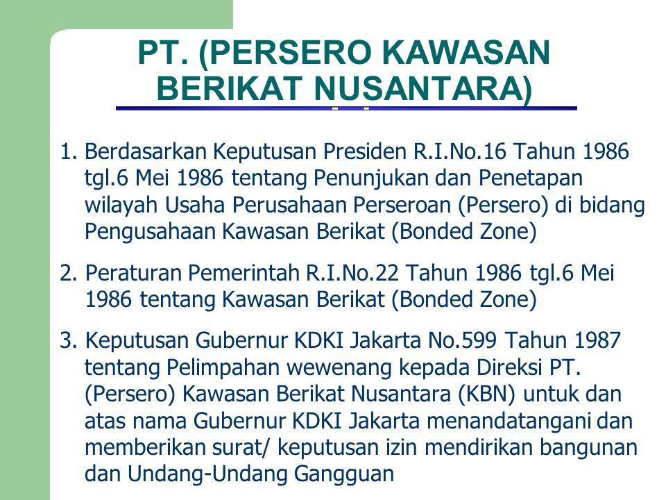 PT. (PERSERO KAWASAN BERIKAT NUSANTARA) 1.Berdasarkan Keputusan Presiden R.I.No.16 Tahun 1986 tgl.6 Mei 1986 tentang Penunjukan dan Penetapan wilayah