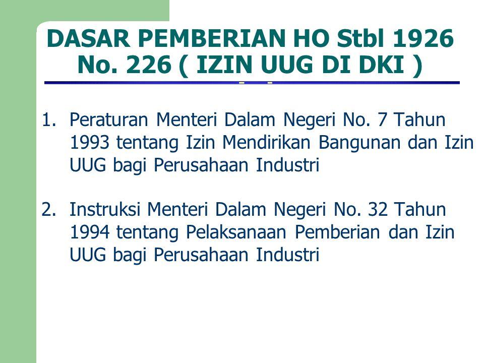 DASAR PEMBERIAN HO Stbl 1926 No. 226 ( IZIN UUG DI DKI ) 1.Peraturan Menteri Dalam Negeri No. 7 Tahun 1993 tentang Izin Mendirikan Bangunan dan Izin U