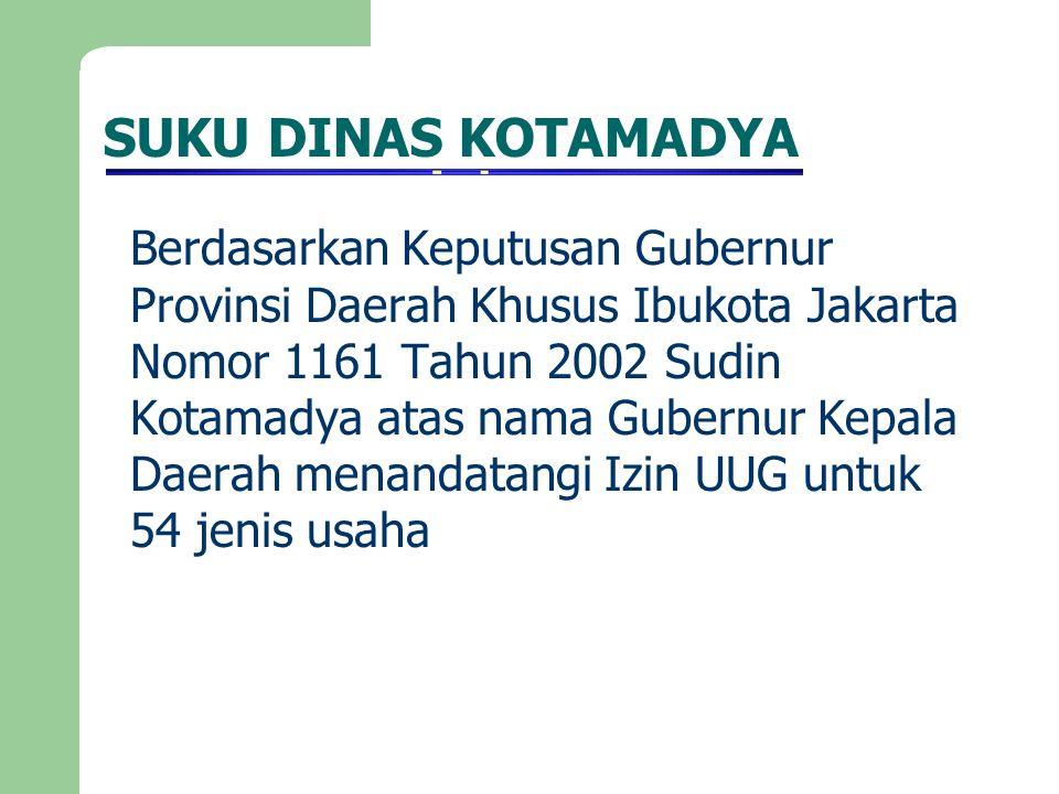 SUKU DINAS KOTAMADYA Berdasarkan Keputusan Gubernur Provinsi Daerah Khusus Ibukota Jakarta Nomor 1161 Tahun 2002 Sudin Kotamadya atas nama Gubernur Ke