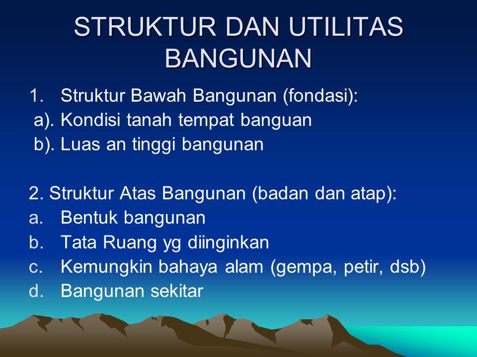 STRUKTUR DAN UTILITAS BANGUNAN 1.Struktur Bawah Bangunan (fondasi): a). Kondisi tanah tempat banguan b). Luas an tinggi bangunan 2. Struktur Atas Bang