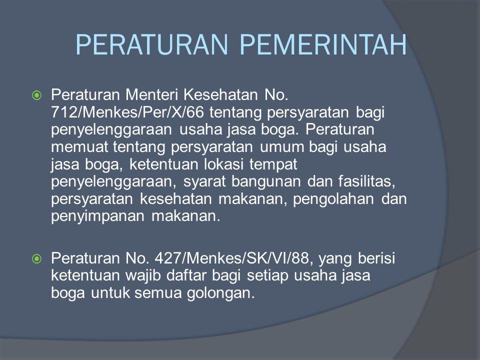 PERATURAN PEMERINTAH  Peraturan Menteri Kesehatan No. 712/Menkes/Per/X/66 tentang persyaratan bagi penyelenggaraan usaha jasa boga. Peraturan memuat