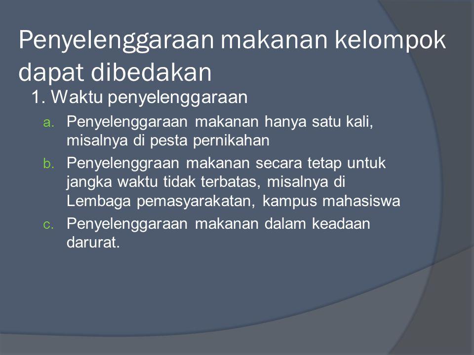 Pelaksanaan penyelenggaraan makanan Meliputi : 1.Perencanaan menu 2.