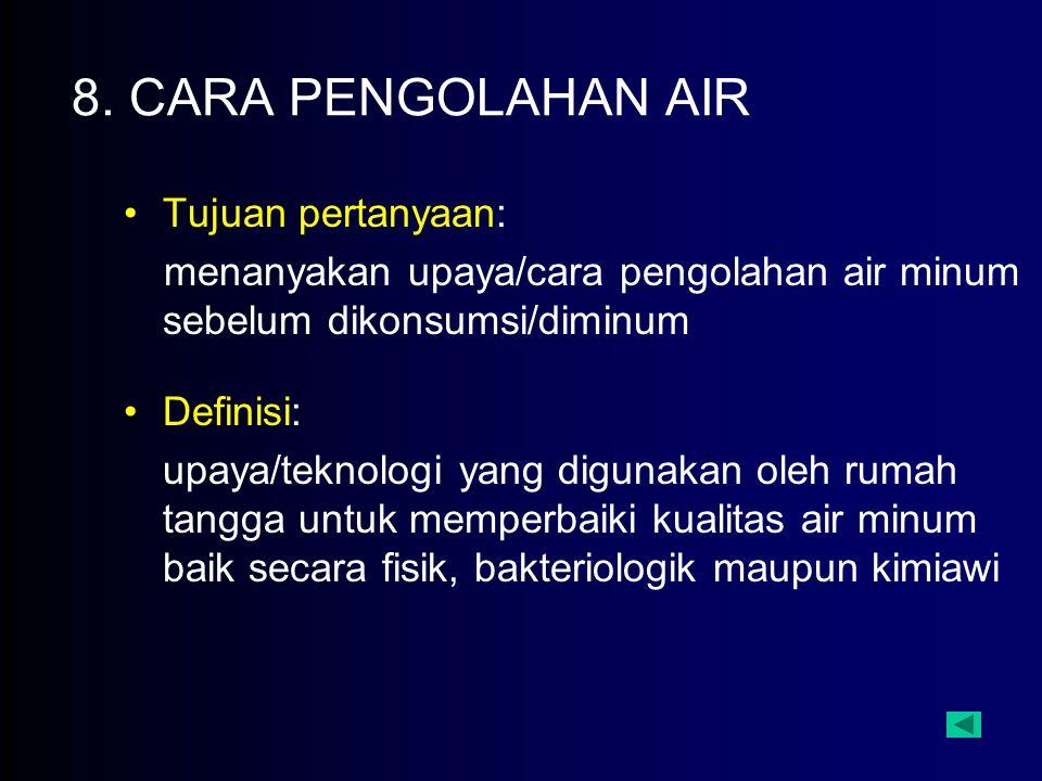 8. CARA PENGOLAHAN AIR Tujuan pertanyaan: menanyakan upaya/cara pengolahan air minum sebelum dikonsumsi/diminum Definisi: upaya/teknologi yang digunak