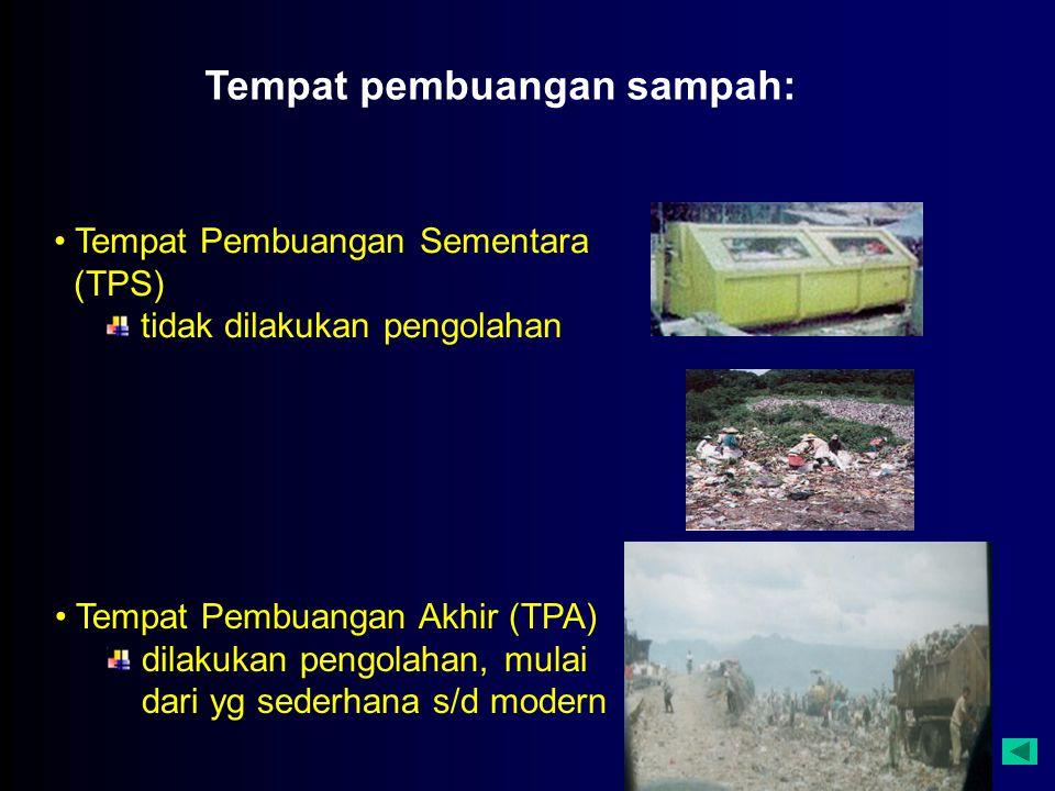 Tempat pembuangan sampah: Tempat Pembuangan Akhir (TPA) dilakukan pengolahan, mulai dari yg sederhana s/d modern Tempat Pembuangan Sementara (TPS) tidak dilakukan pengolahan