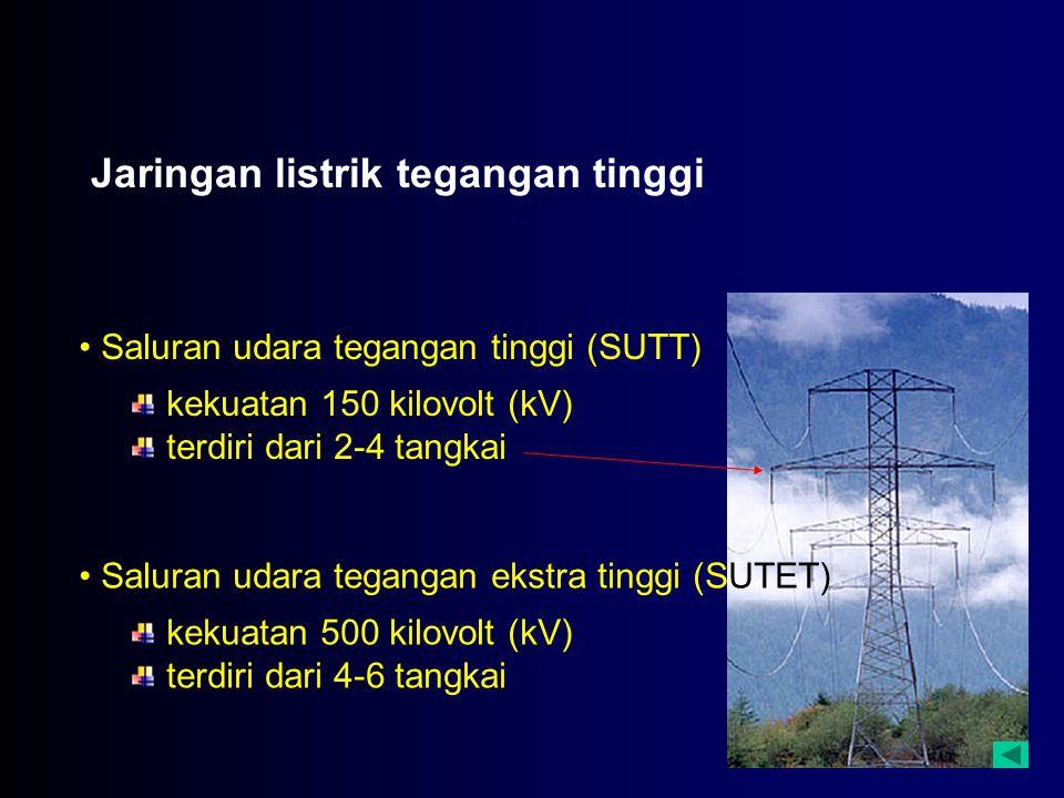 Jaringan listrik tegangan tinggi Saluran udara tegangan tinggi (SUTT) kekuatan 150 kilovolt (kV) terdiri dari 2-4 tangkai Saluran udara tegangan ekstr