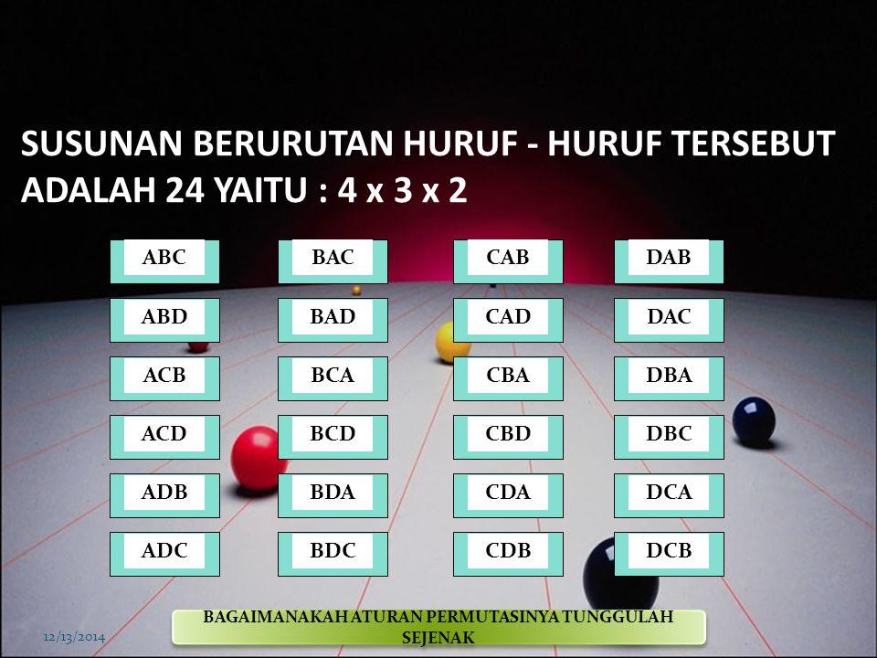 DIAGRAM - 4 12/13/2014 Tempat ke 1 Tempat ke 2 Tempat ke 3 Susunan huruf DB C A B C A CA B DAB DACDBADBCDCADCB