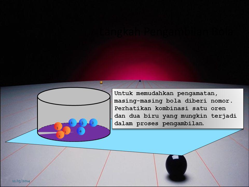Kombinasi bola berwarna 12/13/2014 Dalam sebuah tabung transfaran terdapat tiga bola berwarna oren dan empat bola berwarna biru. Jika diambil tiga bol