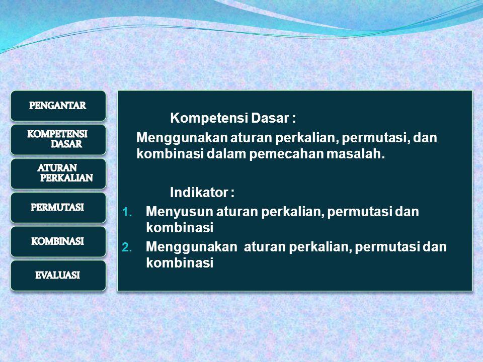 12/13/2014 123 4 cara 2 cara 3 cara Jadi kursi tersebut ditempati oleh Ani, Budi, Citra, dan Didi dengan 4 x 3 x 2 cara BAGAIMANA MENULISKAN BENTUK PERKALIAN DENGAN NOTASI FAKTORIAL TUNGGU SESAAT BAGAIMANA MENULISKAN BENTUK PERKALIAN DENGAN NOTASI FAKTORIAL TUNGGU SESAAT