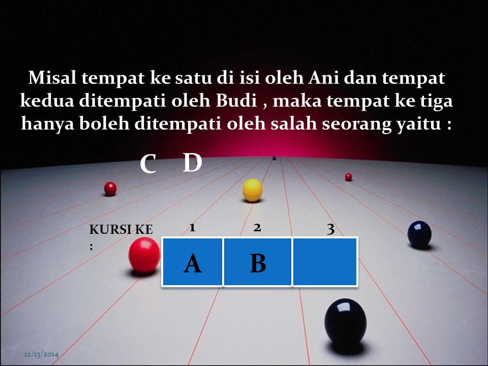 12/13/2014 BCD KURSI KE : 123 A Misalkan Ani menempati tempat ke satu, maka tempat kedua hanya boleh ditempati oleh salah seorang yaitu :