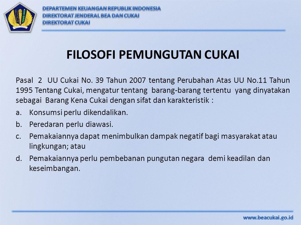 FILOSOFI PEMUNGUTAN CUKAI Pasal 2 UU Cukai No. 39 Tahun 2007 tentang Perubahan Atas UU No.11 Tahun 1995 Tentang Cukai, mengatur tentang barang-barang