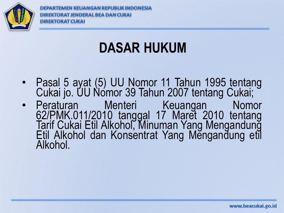 DASAR HUKUM Pasal 5 ayat (5) UU Nomor 11 Tahun 1995 tentang Cukai jo. UU Nomor 39 Tahun 2007 tentang Cukai; Peraturan Menteri Keuangan Nomor 62/PMK.01
