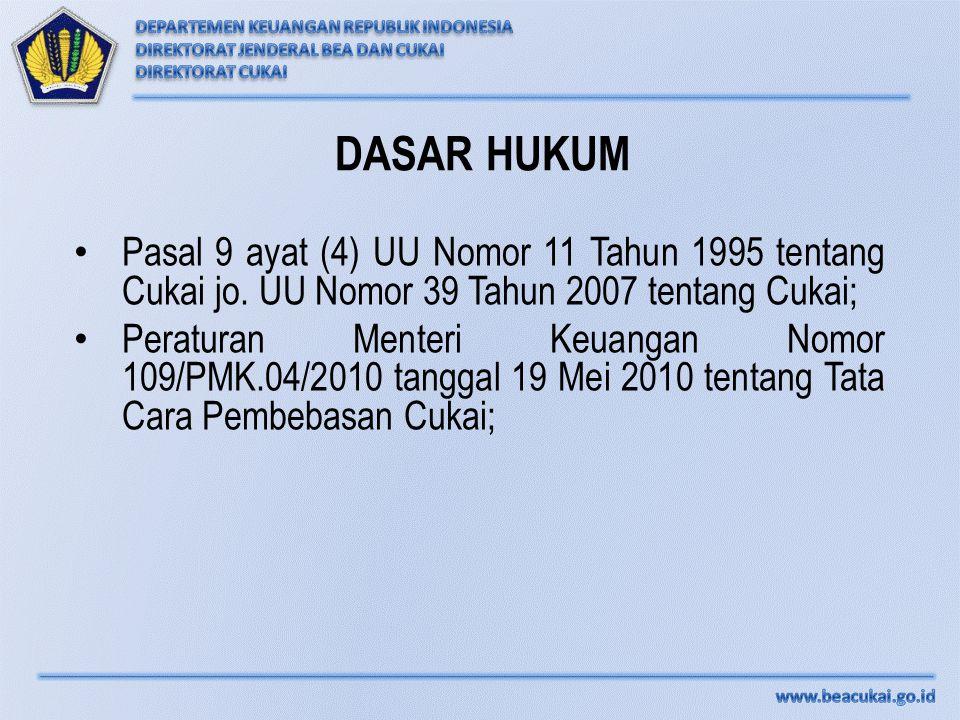 DASAR HUKUM Pasal 9 ayat (4) UU Nomor 11 Tahun 1995 tentang Cukai jo. UU Nomor 39 Tahun 2007 tentang Cukai; Peraturan Menteri Keuangan Nomor 109/PMK.0