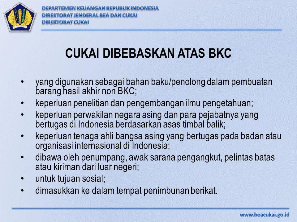 CUKAI DIBEBASKAN ATAS BKC yang digunakan sebagai bahan baku/penolong dalam pembuatan barang hasil akhir non BKC; keperluan penelitian dan pengembangan