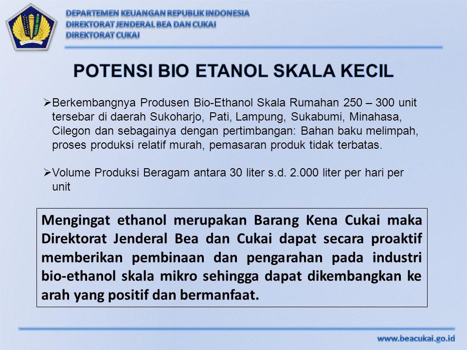  Berkembangnya Produsen Bio-Ethanol Skala Rumahan 250 – 300 unit tersebar di daerah Sukoharjo, Pati, Lampung, Sukabumi, Minahasa, Cilegon dan sebagai