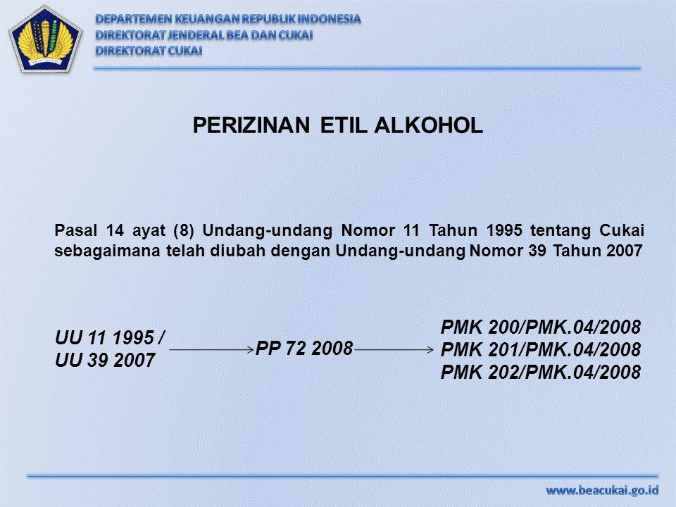 PERIZINAN ETIL ALKOHOL Pasal 14 ayat (8) Undang-undang Nomor 11 Tahun 1995 tentang Cukai sebagaimana telah diubah dengan Undang-undang Nomor 39 Tahun