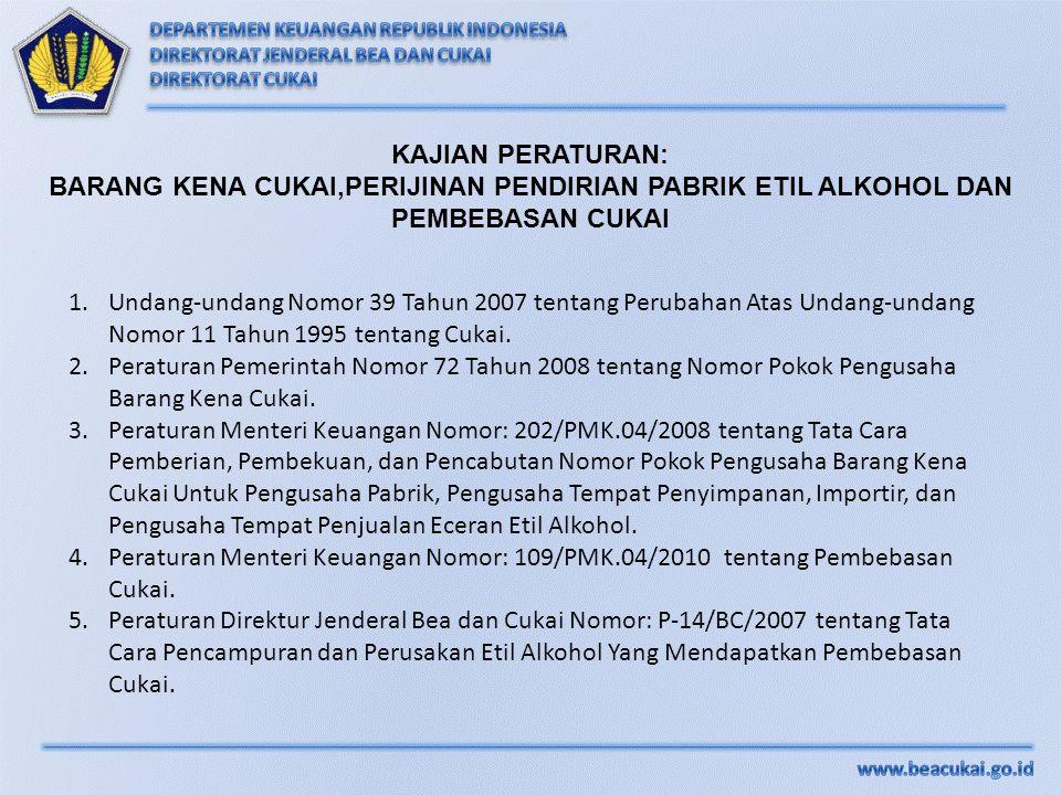 KAJIAN PERATURAN: BARANG KENA CUKAI,PERIJINAN PENDIRIAN PABRIK ETIL ALKOHOL DAN PEMBEBASAN CUKAI 1.Undang-undang Nomor 39 Tahun 2007 tentang Perubahan