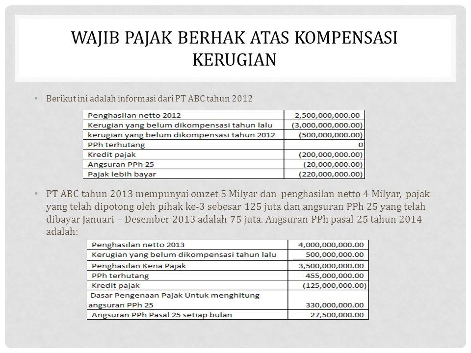 WAJIB PAJAK BERHAK ATAS KOMPENSASI KERUGIAN Berikut ini adalah informasi dari PT ABC tahun 2012 PT ABC tahun 2013 mempunyai omzet 5 Milyar dan penghas