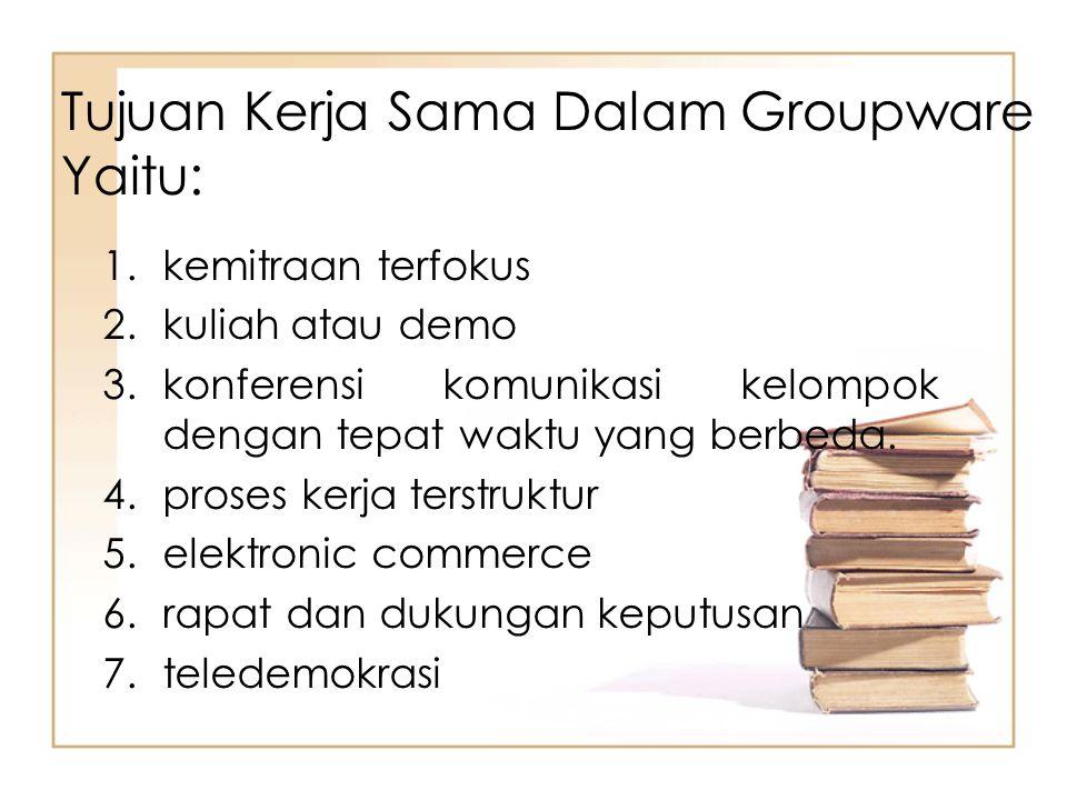Aplikasi Groupware 1.kolaborasi berdasarkan tempat contoh: a)video conference, b)meeting room, c)chating atau messenger 2.Kolaborasi berdasarkan waktu, contoh: a)Email b)Instan messangers c)Sms d)blog e)forum sosial f)bookmark aggregator,
