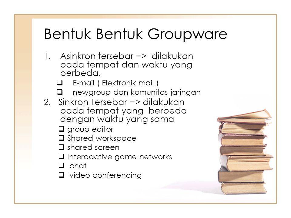 Bentuk Bentuk Groupware 1.Asinkron tersebar => dilakukan pada tempat dan waktu yang berbeda.  E-mail ( Elektronik mail )  newgroup dan komunitas jar